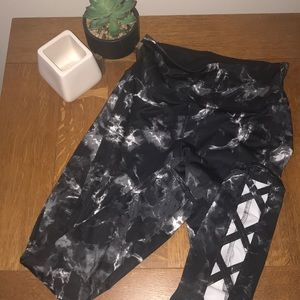 Gray, black and white work out leggings